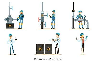 set, pipeline., illustrations., oilman, vettore