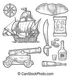 Set pirate adventure. Vector color vintage engraving - Set...