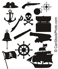 set pirate icons black silhouette