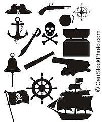 set pirate icons black silhouette