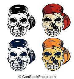 set, pirati, cranio
