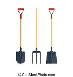 Set pitchfork shovel spade flat tool icon logo vector illustration. Farming equipment. Garden instruments isolated on white background.
