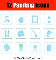 set, pittura, icone