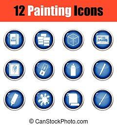 set, pittura, icons.