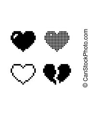 Set pixel hearts black icons isolated on white background. Romantic love vector illustration