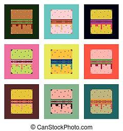 Set Pixel icons burger