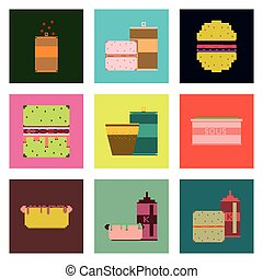 Set Pixel Icons Fast Food Set Pixel Icons Of Fast Food