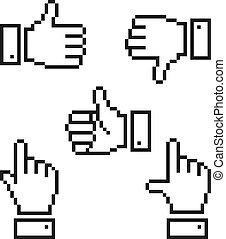 set, pixelated, icons., mano