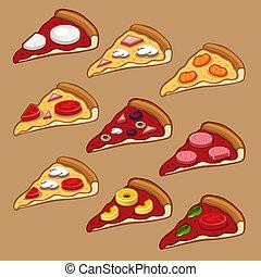 set, pizza, icona