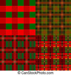 Set plaid patterns, tartan