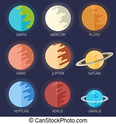 set planets solar system in a cartoon style flat