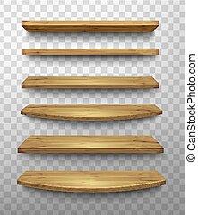 set, planken, houten, achtergrond., vector., transparant