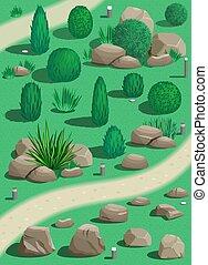 Set plants and stones