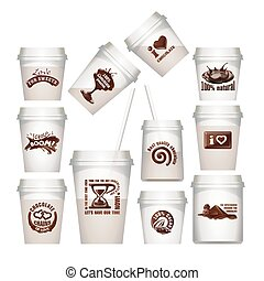 Set plastic cups with chocolate labels