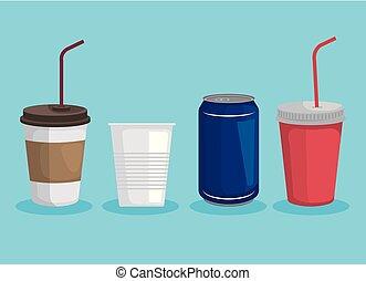 set, plastic, ecologie, groenteblik, vergiftig, koppen, vervuiling