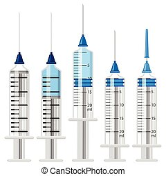 Set Plastic Medical Syringes