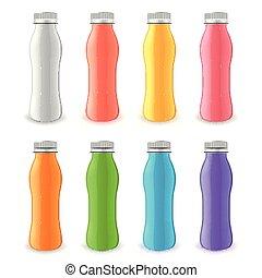 set, plastica, realistico, vettore, bottiglia, yogurt, 3d