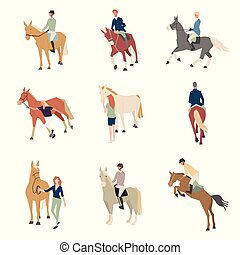 set., plat, kleur, mensen, fokken, paarde, horse., passagier, iconen, horseback.