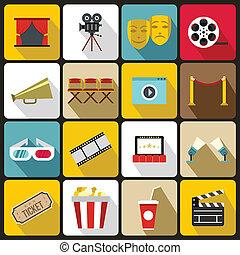set, plat, stijl, bioscoop, iconen