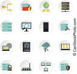 set, plat, stijl, databank, iconen