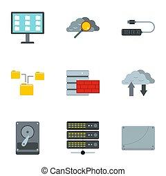 set, plat, stijl, de pictogrammen van de computer