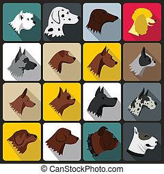 set, plat, stijl, dog, iconen