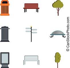 set, plat, stijl, plein, iconen