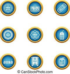 set, plat, stijl, realisatie, iconen