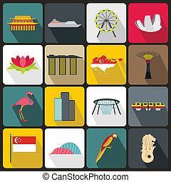 set, plat, stijl, singapore, iconen