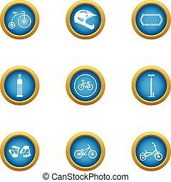 set, plat, velocipede, stijl, iconen