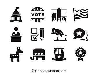 set, politico, icone