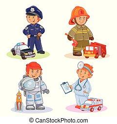 set, politie, arts, vuur, vector, ruimtevaarder, vechter,...