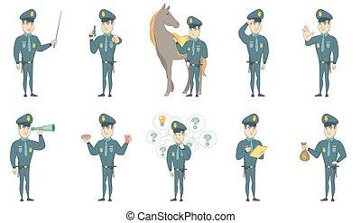 set, politieagent, jonge, vector, illustraties, kaukasisch