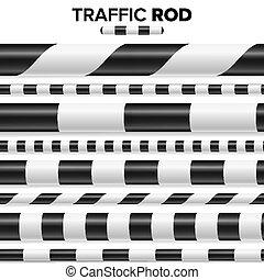 set, polizia, seamless., bianco, isolato, bacchetta, fondo., traffico, vector., orizzontale, bastone