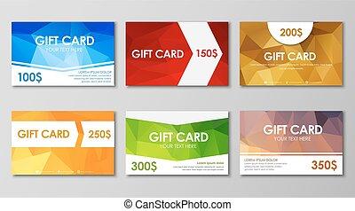 Set polygonal gift cards