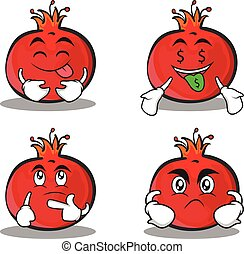 Set pomegranate cartoon character style collection