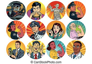 set pop art round icons characters avatar