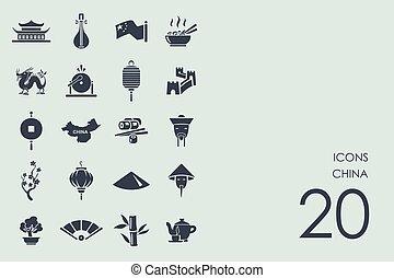 set, porcellana, icone