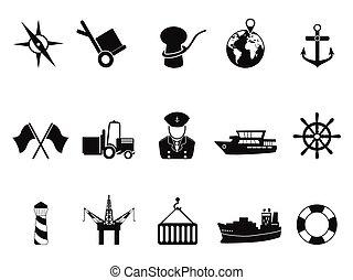 set, porto, mare, icone