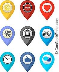 set, posizione, collezione, icone
