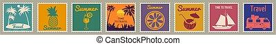 Set Postage stamp summer vacation Sunset Ice Cream Yacht Van Sailboat Pineapple. Retro vintage design vector illustration isolated