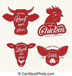 set, poster., macello, emblema, etichetta, logotipo