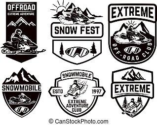 set, poster., mark, merk, vrijstaand, illustratie, element, achtergrond., emblems, vector, ontwerp, snowmobile, meldingsbord, etiket, witte