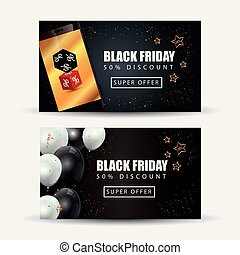 set poster of black friday with decoration