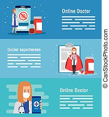 set poster of medicine online technology with icons