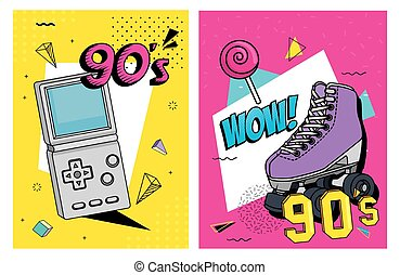 set poster of nineties retro style with icons