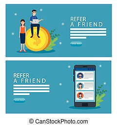 set poster of refer a friend with icons