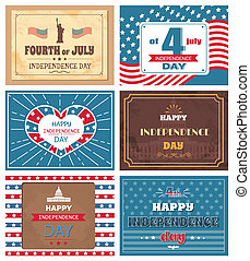 Set Posters 4 July Independence Day Holiday of USA