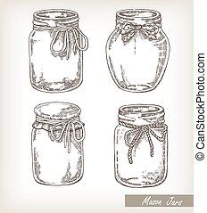 set., pot, illustratie, hand, vector, verzameling, getrokken, potten, metselaar
