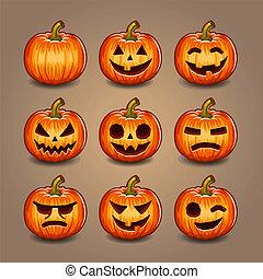 set., potirons, halloween, vector.